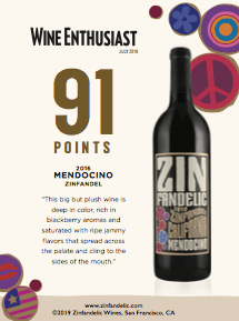91 points, Wine Enthusiast - 2016 Mendocino Zinfandel Shelftalker