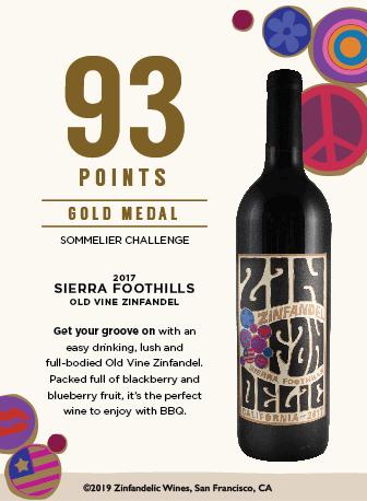 93 points, Gold Medal - 2017 Sierra Foothills Old Vine Zinfandel Shelftalker
